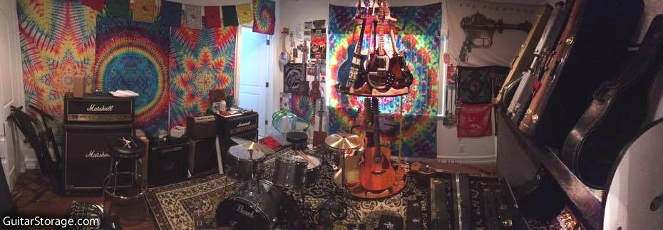 music room surrounded by guitars