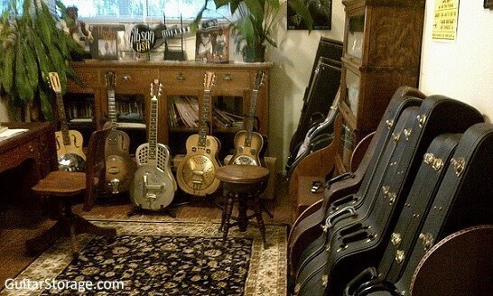 Multiple Guitar Case Racks save space!