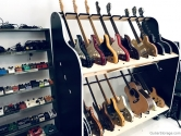double guitar shelves and pedals