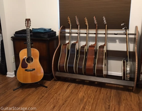 wood 7 guitar stand