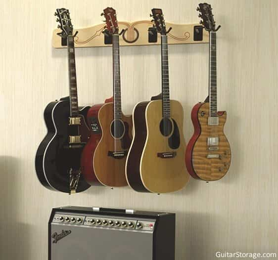 the pro file wall mounted multi guitar hanger guitar storage. Black Bedroom Furniture Sets. Home Design Ideas