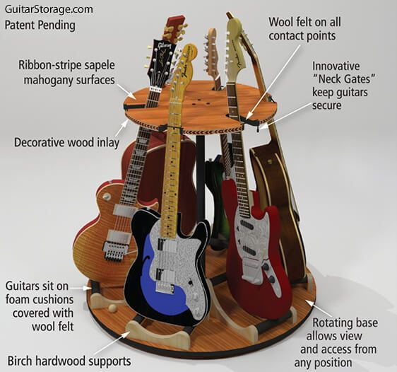 the carousel deluxe rotating multi guitar stand guitar storage. Black Bedroom Furniture Sets. Home Design Ideas