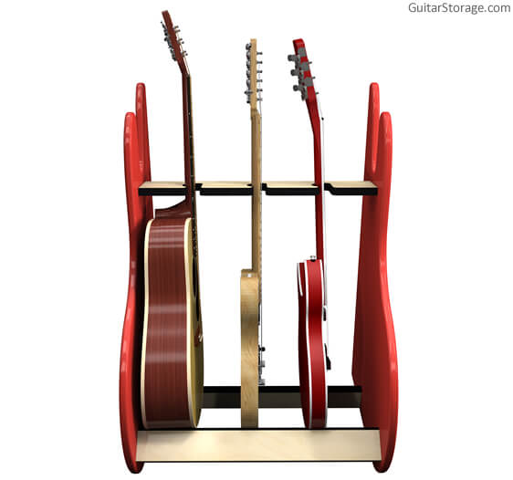 3 guitar rack red front