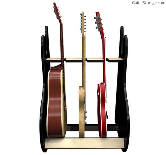 3 guitar stand black front