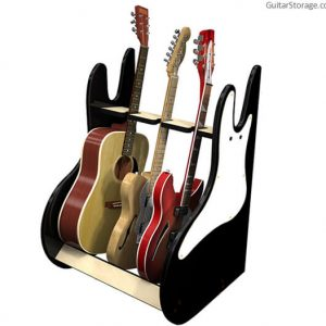 3 guitar stand side black