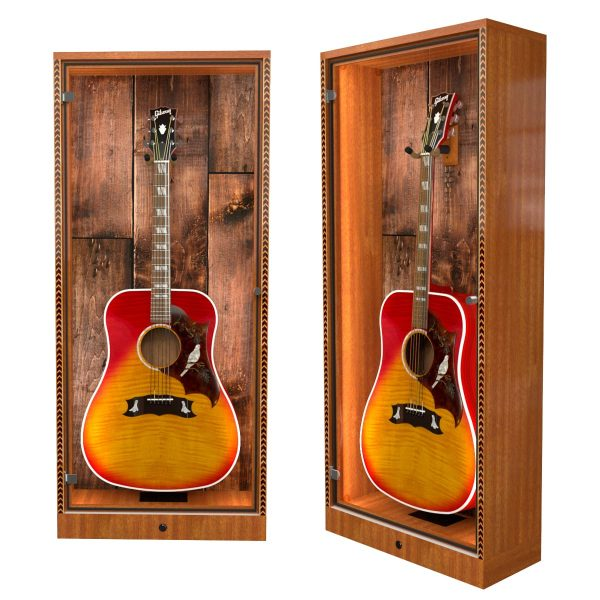 guitar display case with barnwood back panel