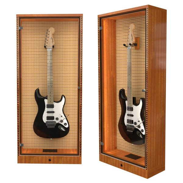 humidified guitar cabinet with tweed amp grill cloth background