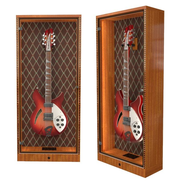 wall guitar display cabinet with diamond grill