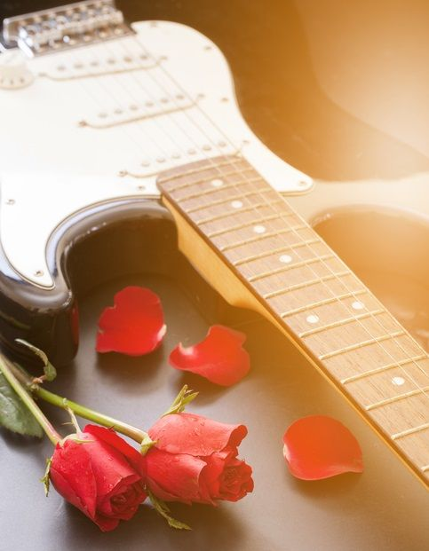stratocaster with roses for anniversary gift
