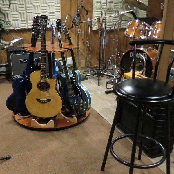 carousel guitar stand in music studio