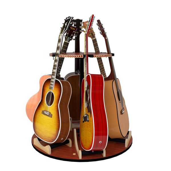 acoustic guitars in the carousel rotating guitar stand