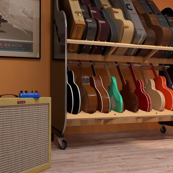 closeup of amplifier and guitar rack