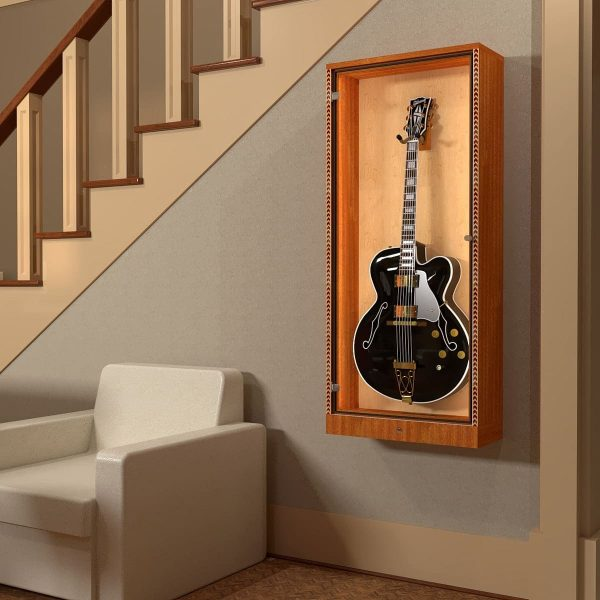 display case with gibson guitar