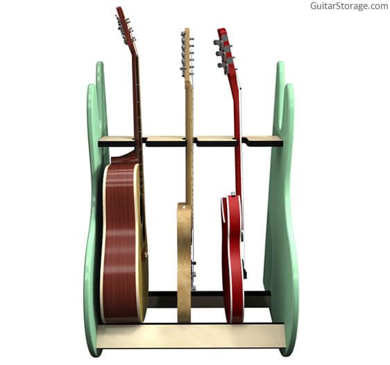 green triple guitar stand