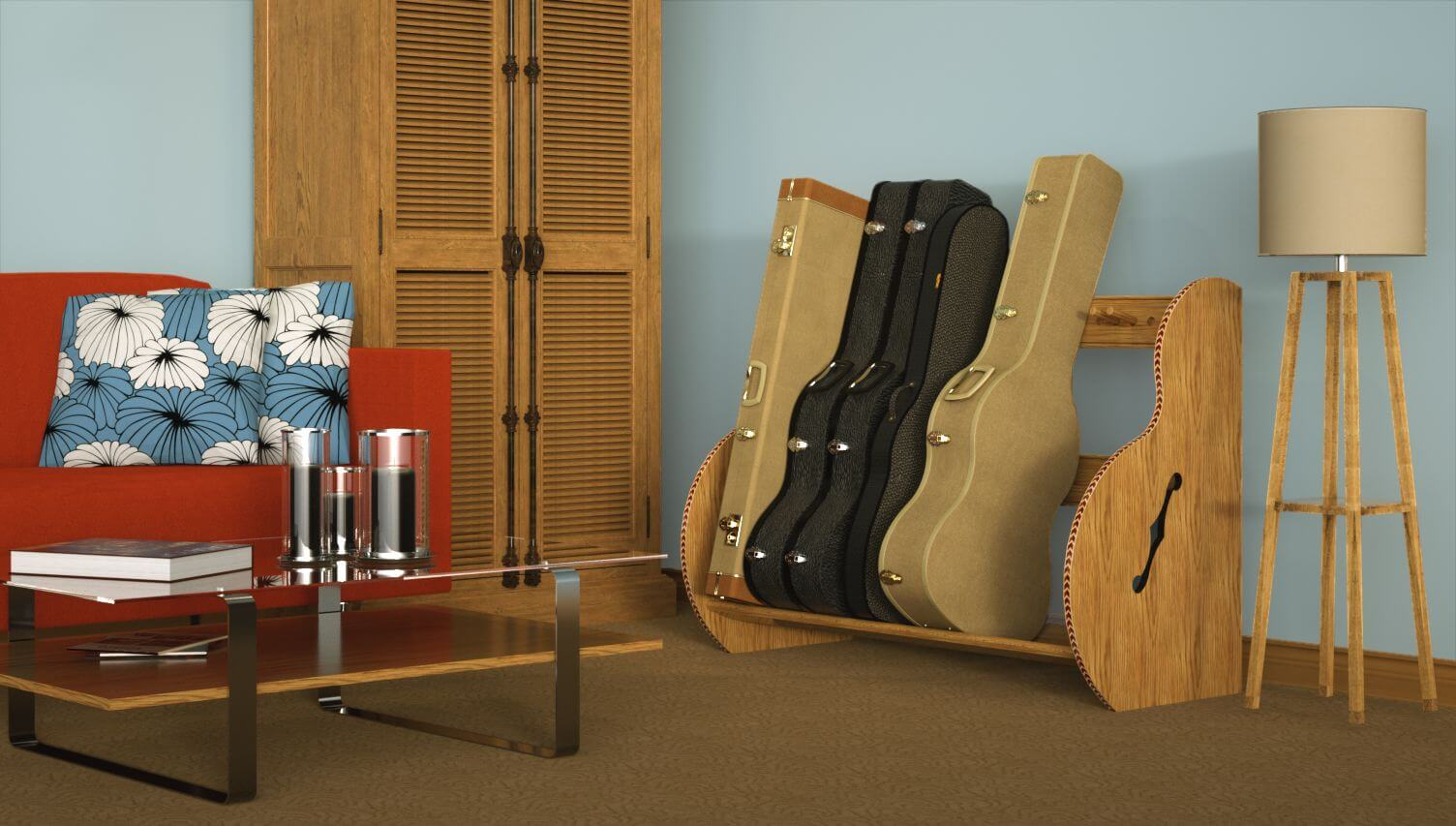 Guitar Case Storage Rack