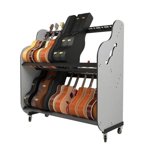 partially full guitar shelf system on whelves