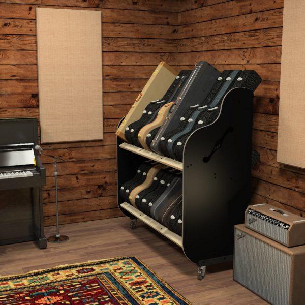 guitar case storage in recording studio