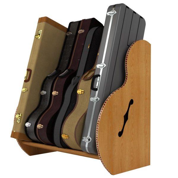 wood guitar case storage rack