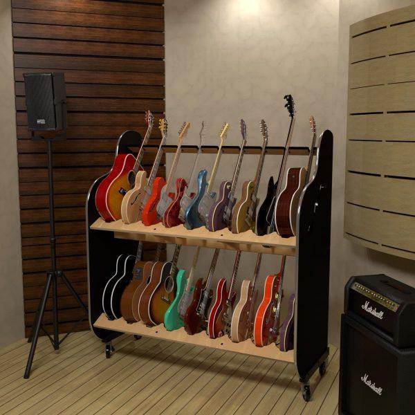 guitar shelf storage for recording studio