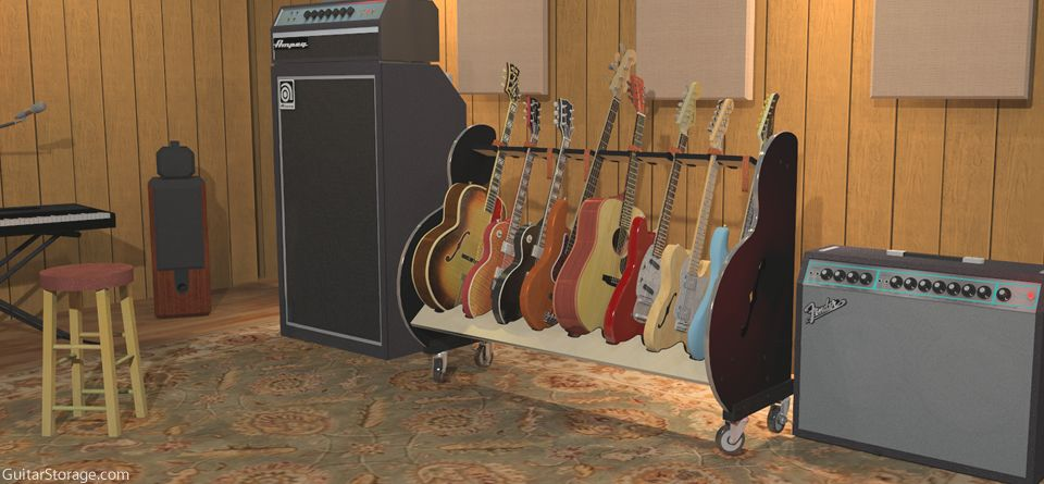 wheeled guitar stand in recording studio