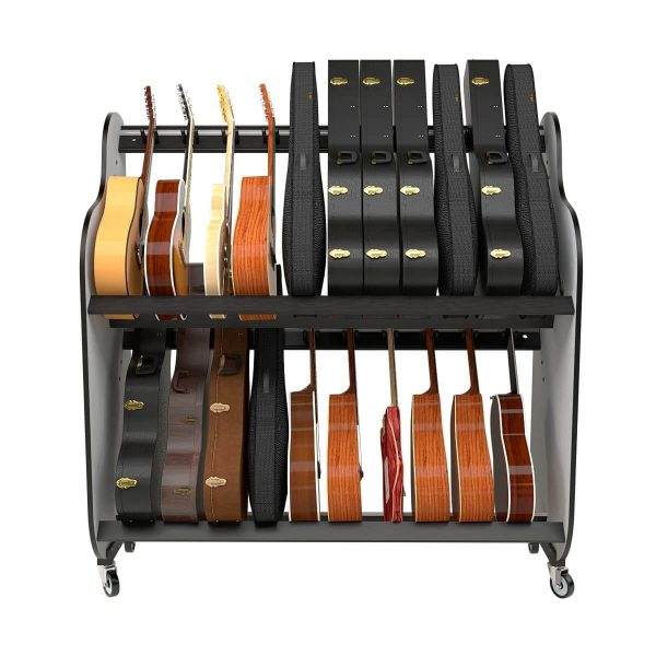 front view of two tiered guitar shelf system