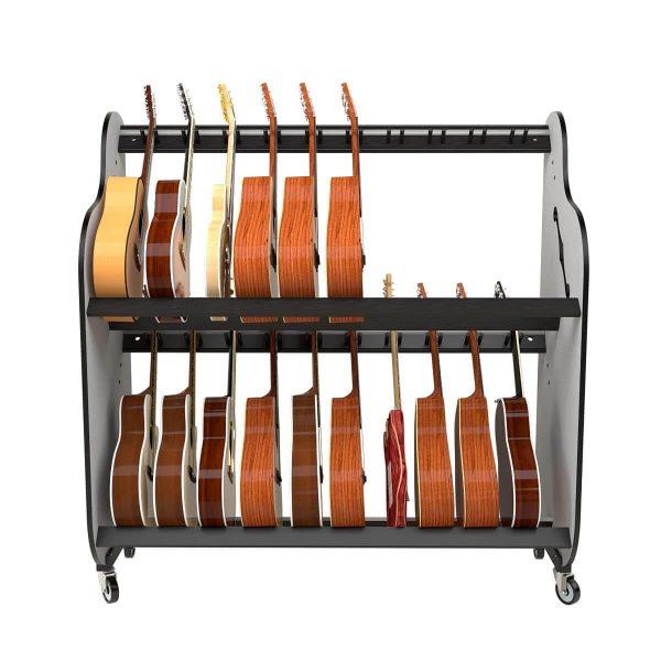 partially full guitar shelf rack