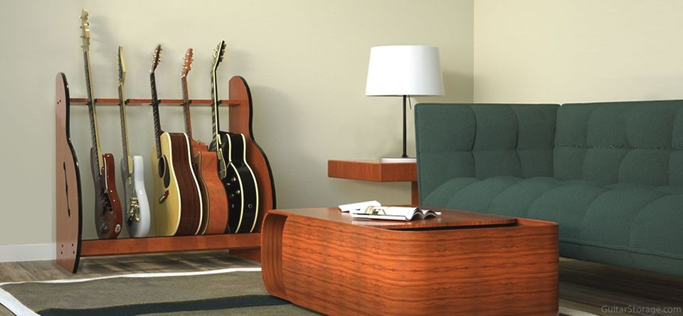 5 guitars and coffee table