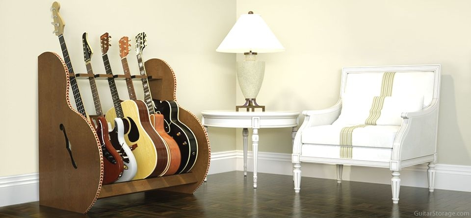 5 guitars and end table
