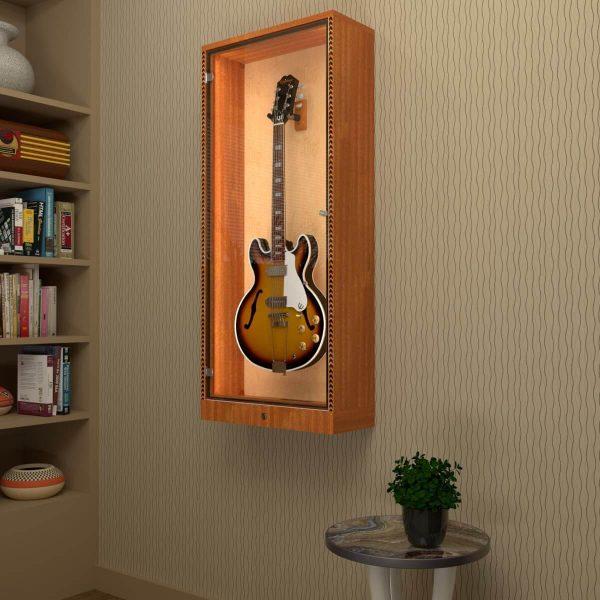 hanging guitar display cabinet