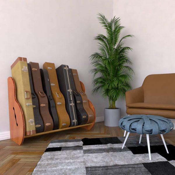 mahogany studio guitar case unit