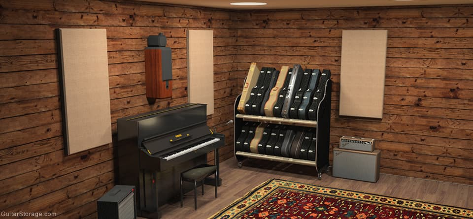 music studio filled with guitar cases