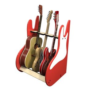 vintage red 3 guitar stand side view
