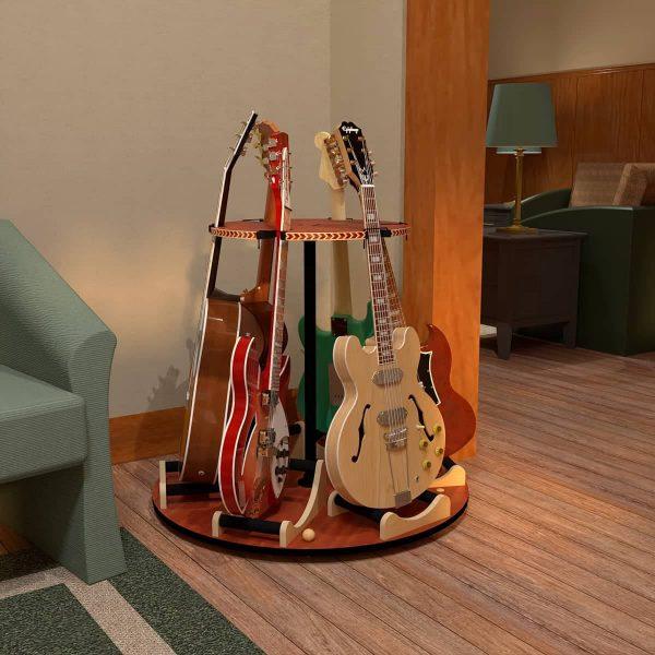 rotating 6 guitar stand