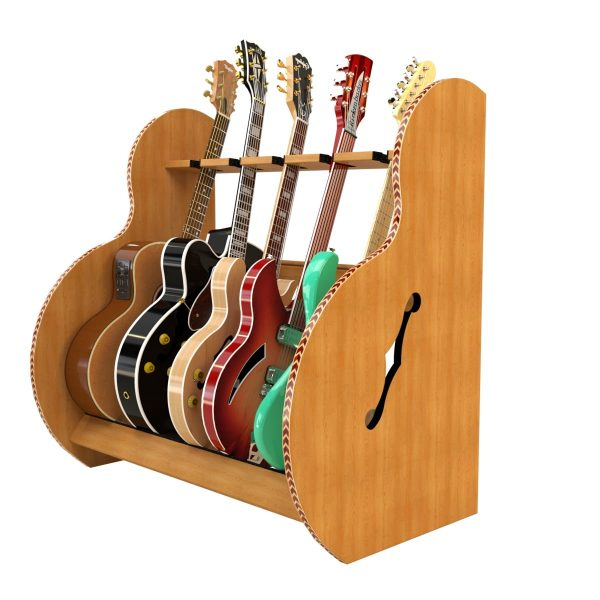 session deluxe wood five guitar stand