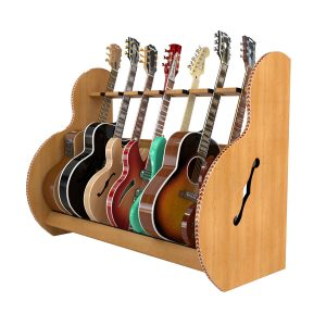 session deluxe seven guitar stand red oak
