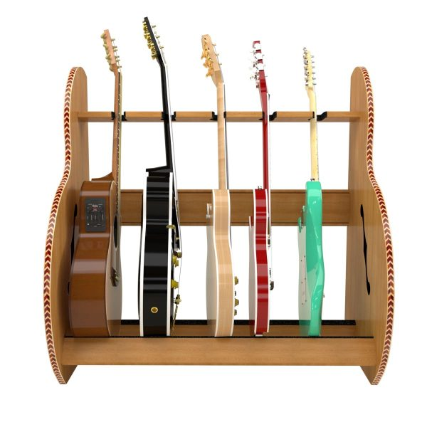 session dlx wood five guitar stand front