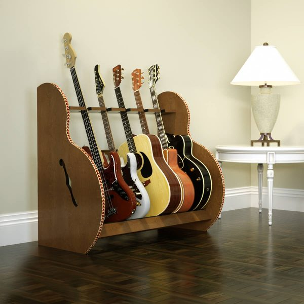 session five guitar stand walnut side