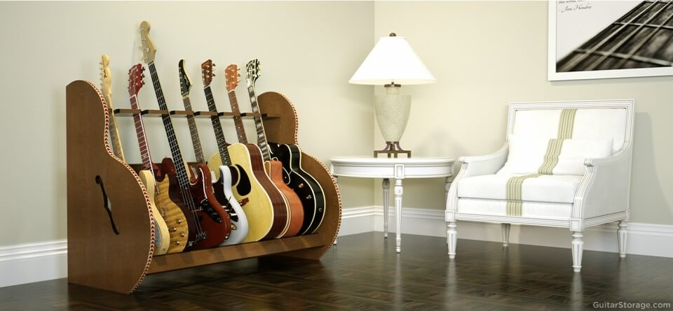 walnut seven guitar stand
