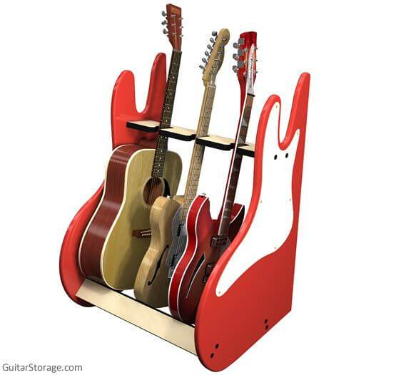 multiple guitar stands beautiful woods for acoustics electrics. Black Bedroom Furniture Sets. Home Design Ideas