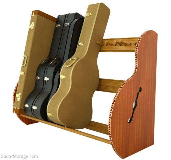 Mahogany Guitar Case Storage Rack