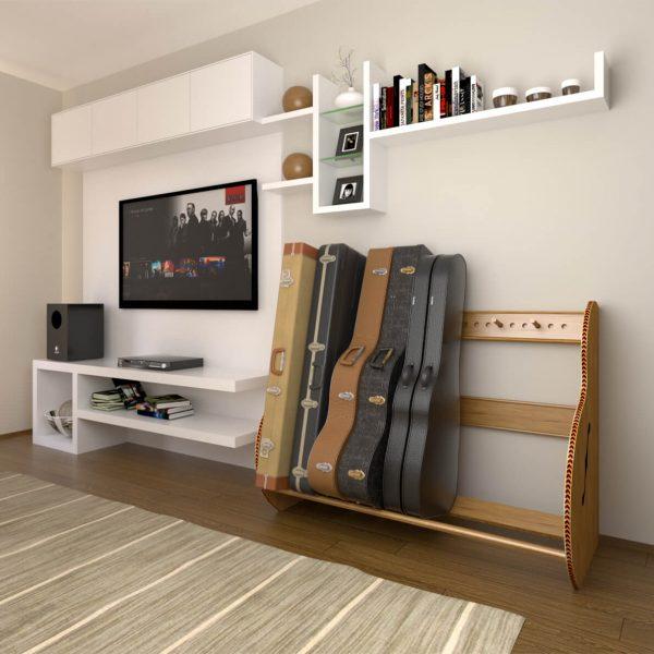 studio deluxe red oak guitar case holder