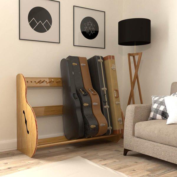 studio deluxe red oak guitar case storage