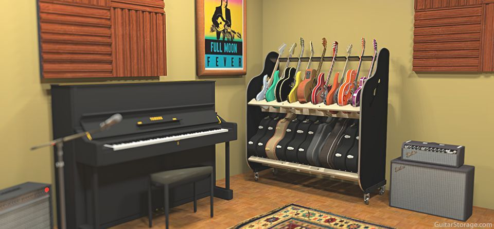 Music Studio Guitar Case Storage