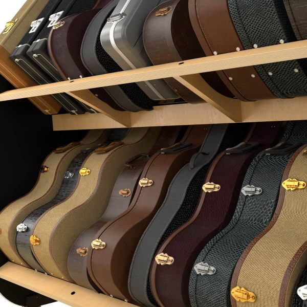 supports for guitar case storage shelves