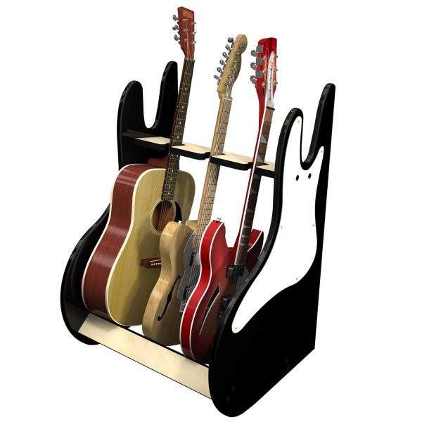 vintage black 3 guitar stand side view