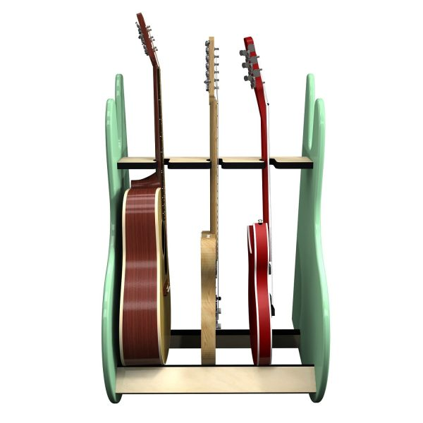 vintage green 3 guitar stand front view