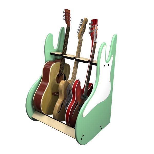 vintage green 3 guitar stand side