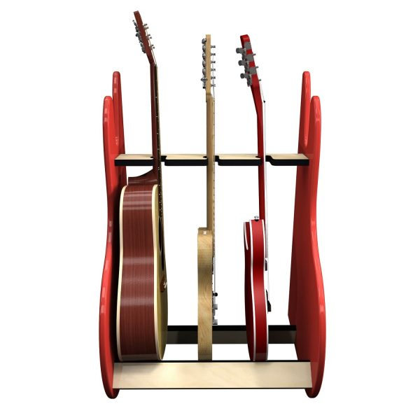 vintage red 3 guitar stand front view